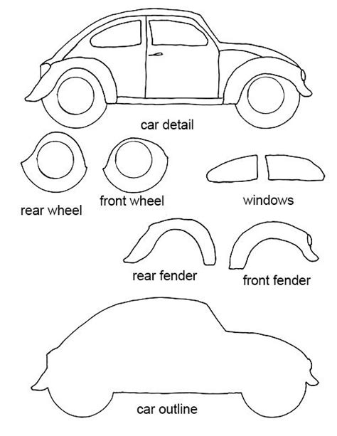 felt templates for felt crafts free patterns free vw bug craft template