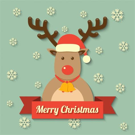 a merry reindeer with a merry message vector free