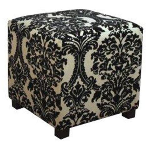 damask ottoman black and beige damask cube ottoman