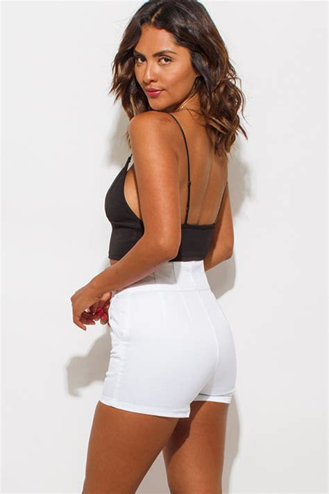 Z S Highwaist White shop wholesale womens white high waisted pocketed button shorts