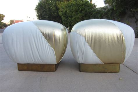 gold leather ottoman regency pouf ottomans in gold and white leather