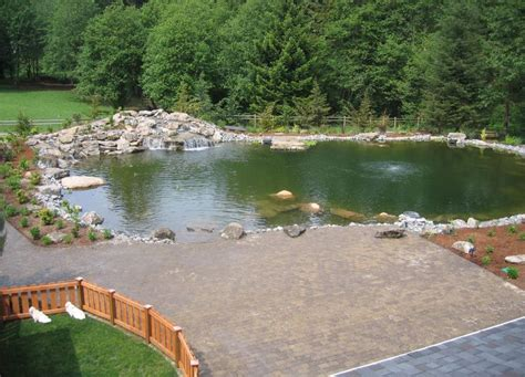 large backyard ponds landscaping vancouver washington complete with large paverpatio and large pond for swimming