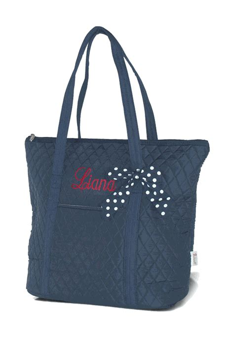 embroidered quilted tote bag monogram personalized