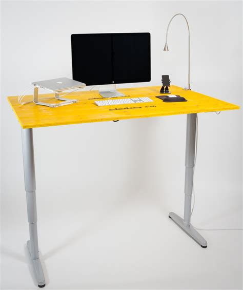 Adjustable Height Desk Ikea With Yellow Color Ikea Height Adjustable Desk