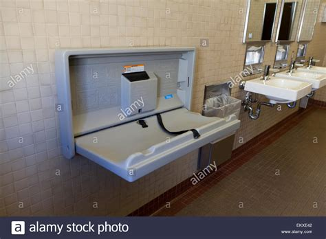 Baby Change Table Commercial Folding Baby Changing Table In Restroom Usa Stock Photo Royalty Free Image 81101778
