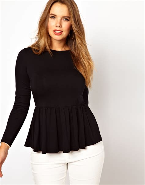 xxl brand peplum top lyst asos peplum top with printed back in black