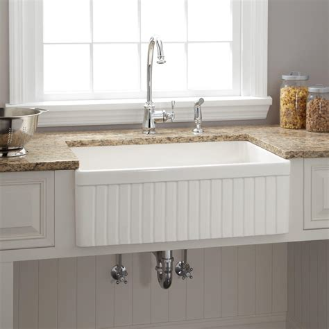 White Farmhouse Kitchen Sink 30 Quot Baldwin Single Bowl Fireclay Farmhouse Kitchen Sink Fluted Apron White Ebay
