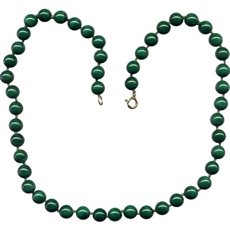malachite bead necklace malachite bead necklace with 14k gold clasp from