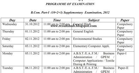 supplementary section b com part 1 supplementary 2012 timetable kota university