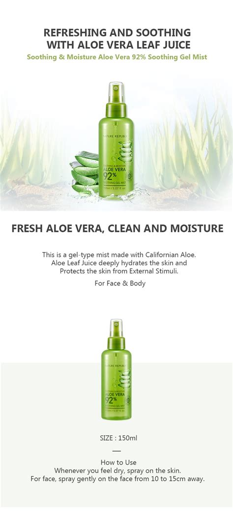 Nature Republic Aloe Vera 92 Soothing Gel Mist Original 20ml nature republic soothing moisture aloe vera 92 soothing gel mist 150ml info 2 essence