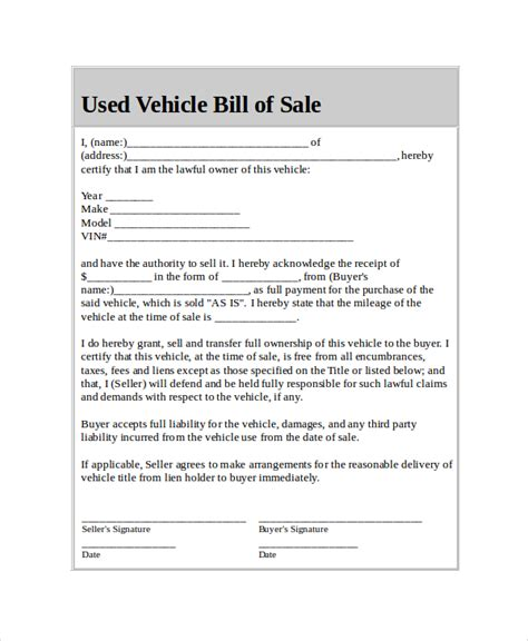 bill of sale vehicle template car bill of sale 5 free word pdf documents