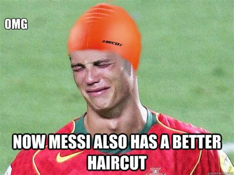 Ronaldo Crying Meme - omg now messi also has a better haircut ronaldo crying