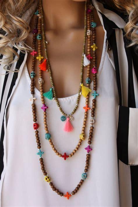 how to make hippie jewelry 3 pcs wooden tassel boho necklace set bohemian