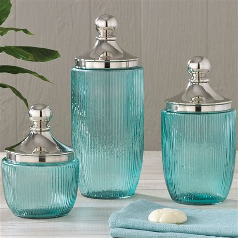 Coastal Aqua Ribbed Glass Jar Set Blue Glass Bathroom Accessories