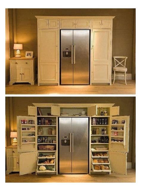pantry around fridge for the home