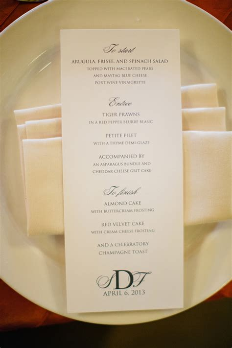 menu cards for wedding reception monogrammed reception menu card elizabeth designs the wedding