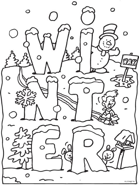 january themed coloring pages kleurplaat winter met sneeuw kleurplaten nl