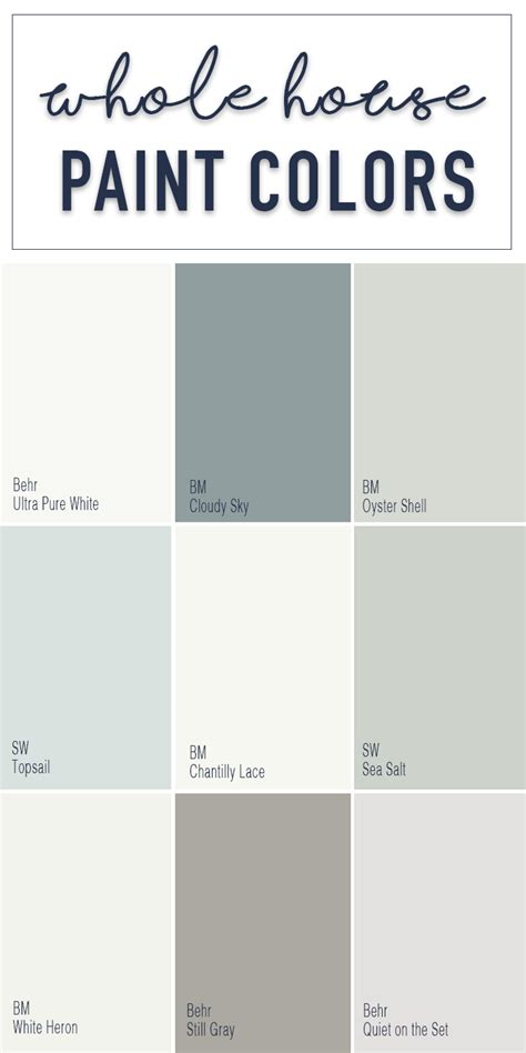 paint colors for a whole home color palette calming