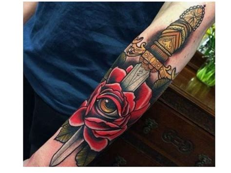 rose eye tattoo dagger tattoos and and knives on