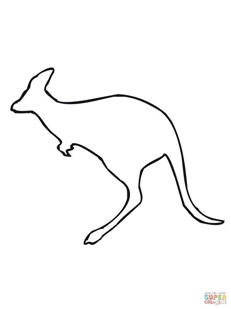 printable kangaroo template leaping kangaroo outline coloring page supercoloring com