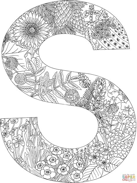 Letter S With Plants Coloring Page Free Printable S Colouring Pages