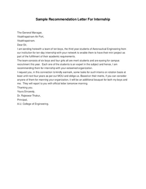 Letter Of Recommendation For Internship   Best Template