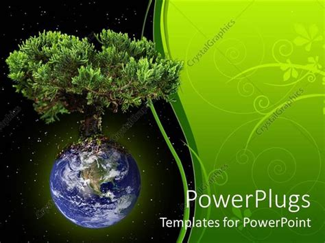 templates powerpoint earth powerpoint template planet earth with growing large tree
