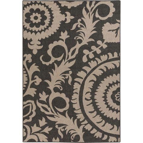 Large Area Rugs Home Depot Artistic Weavers Big Pine Black 3 Ft 6 In X 5 Ft 6 In Indoor Outdoor Area Rug S00151001532