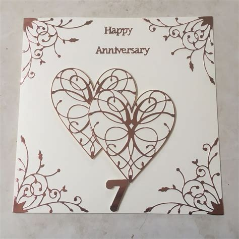 Wedding Anniversary Cards Ebay by Handmade Copper Wedding Anniversary Card Happy 7th Wedding