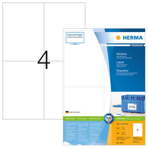 Word Vorlage Etiketten 105 X 148 Herma Etiketten 4627 105 X 148 Mm 200 Blatt Officeworld Ch