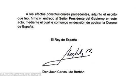 Excuse Letter Upset Stomach King Juan Carlos Of Spain Abdicates As Prince Felipe