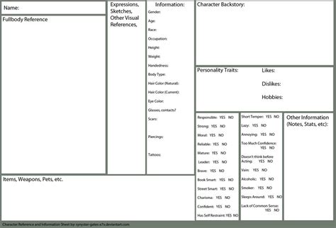 Character Reference Sheet Template