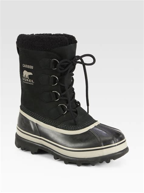 sorel caribou waterproof boot in black for lyst