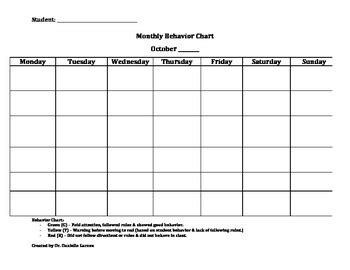 Monthly Student Behavior Chart Template By Danielle Garzon Tpt Student Behavior Log Template Pdf