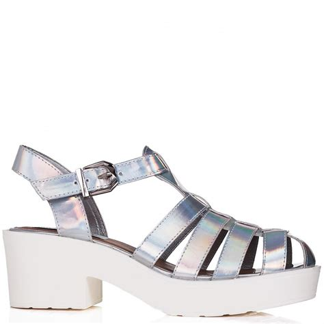 Heels Gladiatorplatform Heels Tali buy chunky sole platform gladiator sandal shoes silver hologram