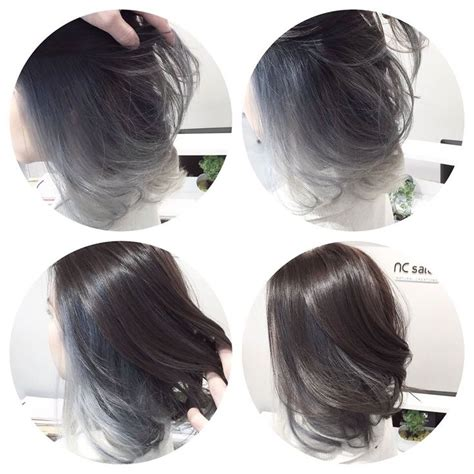 camaflauge grey hair with ombre cool silver grey tone for asian hair ombre balayage