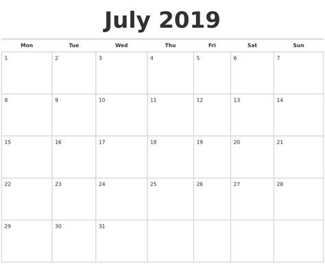 Calendar 2019 July July 2019 Calendars Free