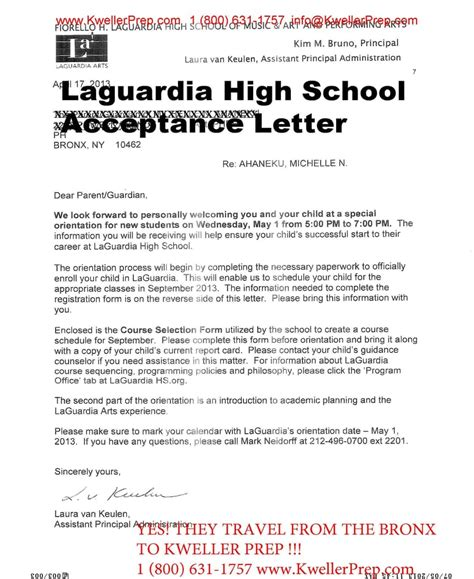 High School Admission Letter Specialized High School Entrance Acceptance Letter To Laguardia High School Yelp