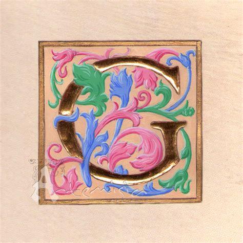 lettere in miniatura artemisiarestauro illuminated letter g acanto