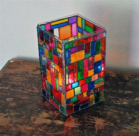 stained glass crafts for how to make faux stained glass mosaic luminary diy