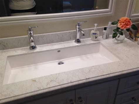 Sinks: awesome undermount trough sink Vc848u, Trough Bathroom Sink With Two Faucets, Undermount