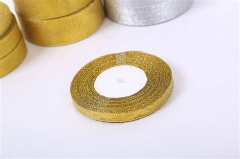 1 cm grosgrain pita emas busur pesta pernikahan tali