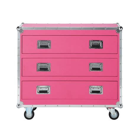 coated textile child s chest of drawers on castors in pink