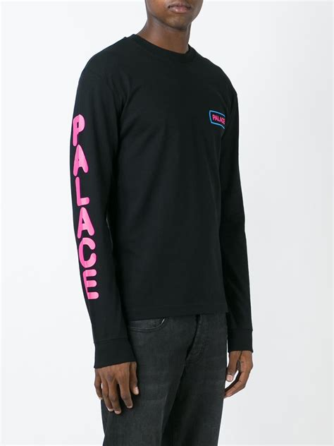 palace back print sleeve t shirt in black for lyst