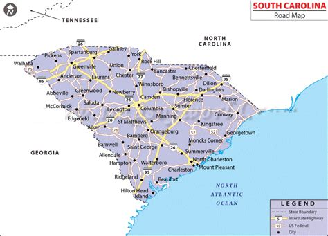 map of and south carolina cities map of south carolina state map of united states