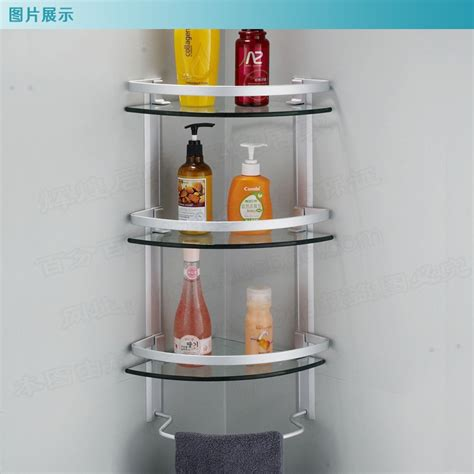 Bathroom Glass Corner Shelves Shower by Aluminum 3 Tier Glass Shelf Shower Holder Bathroom