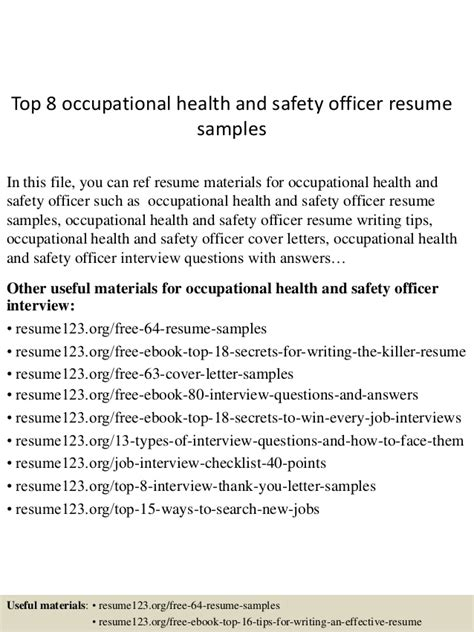 Occupational Health Resume Cover Letter Top 8 Occupational Health And Safety Officer Resume Sles