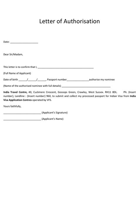 Authorization Letter Visa Visa Letter Of Authorization Form In Word And Pdf Formats