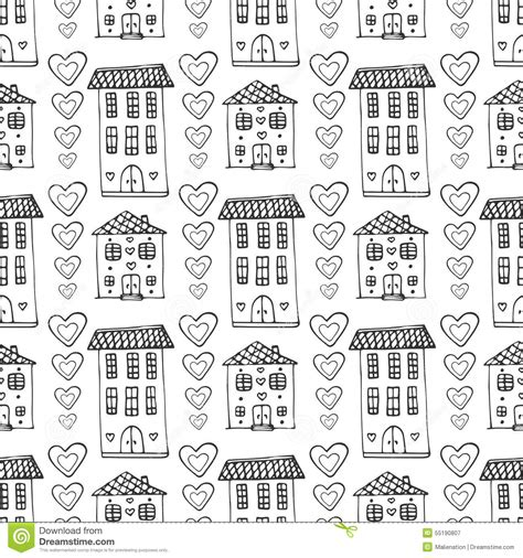 house pattern vector hand drawn cute houses seamless pattern vector doodle