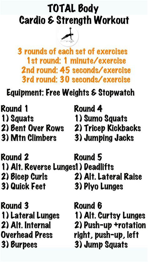cardio strength workout health and fitness